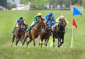 Via Galilei, in Irv Naylor's green, yellow and white silks, cut the corner and turns for home in the $50,000 Temple Gwathmey at Middleburg on Saturday as Sermon of Love (blinkers) and Country Cusine (in the yellow and blue) give chase. More to come.