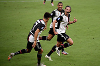 Adrien Rabiot of Juventus celebrates with team mates Cristiano Ronaldo and Danilo after scoring the goal of 0-1 during the Serie A football match between AC Milan and Juventus FC at stadio San Siro in Milan ( Italy ), July 7th, 2020. Play resumes behind closed doors following the outbreak of the coronavirus disease. <br /> Photo Federico Tardito / Insidefoto