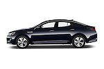 Car Driver side profile view of a 2014 KIA Optima Hybrid EX 4 Door Sedan Side View