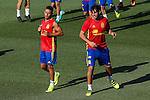 Spanish footbal Javi Martinez and Thiago Alcantara team durign the first training of the concentration of Spanish football team at Ciudad del Futbol de Las Rozas before the qualifying for the Russia world cup in 2017 August 29, 2016. (ALTERPHOTOS/Rodrigo Jimenez)