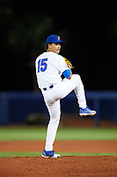 Florida Gators relief pitcher Jordan Butler (15) delivers a pitch during a game against the Siena Saints on February 16, 2018 at Alfred A. McKethan Stadium in Gainesville, Florida.  Florida defeated Siena 7-1.  (Mike Janes/Four Seam Images)