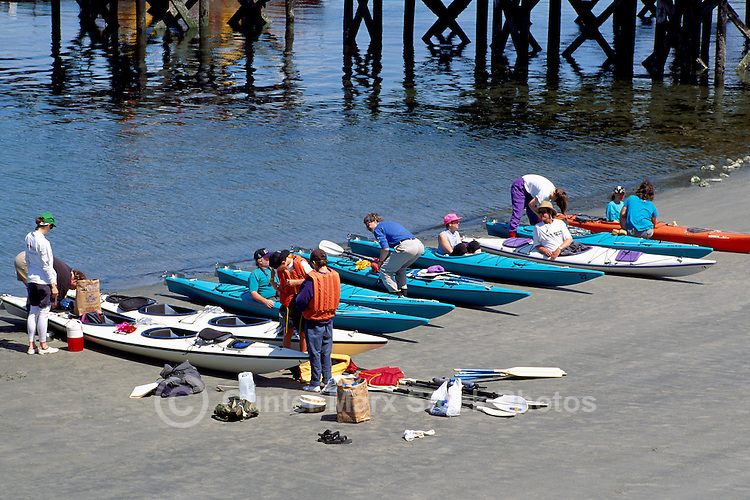 Tofino, Vancouver Island, BC, British Columbia, Canada - Kayakers preparing for Ocean Kayak Trip, Summer