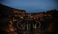 Una veduta interna del Colosseo, prima della Via Crucis celebrata dal Papa, a Roma, 18 aprile 2014.<br /> An interior view of the ancient Colosseum, prior to the start of the Via Crucis (Way of the Cross) torchlight procession attended by the Pope, in Rome, 18 April 2014.<br /> UPDATE IMAGES PRESS/Isabella Bonotto<br /> <br /> STRICTLY ONLY FOR EDITORIAL USE