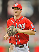 22 July 2012: Washington Nationals rookie outfielder Bryce Harper trots back to the dugout during a game against the Atlanta Braves at Nationals Park in Washington, DC. The Nationals defeated the Braves 9-2 to split their 4-game weekend series. Mandatory Credit: Ed Wolfstein Photo