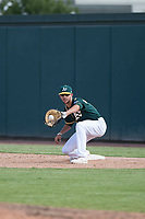 Oakland Athletics first baseman Mickey McDonald (16) during an Instructional League game against the Chicago White Sox at Lew Wolff Training Complex on October 5, 2018 in Mesa, Arizona. (Zachary Lucy/Four Seam Images)