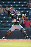 Savannah Sand Gnats catcher Adrian Abreu (24) makes a throw to second base against the Hickory Crawdads at L.P. Frans Stadium on June 14, 2015 in Hickory, North Carolina.  The Crawdads defeated the Sand Gnats 8-1.  (Brian Westerholt/Four Seam Images)