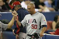March 8, 2009:  Right fielder Shane Victorino (50) of Team USA during the first round of the World Baseball Classic at the Rogers Centre in Toronto, Ontario, Canada.  Team USA defeated Venezuela  15-6 to secure a spot in the second round of the tournament.  Photo by:  Mike Janes/Four Seam Images