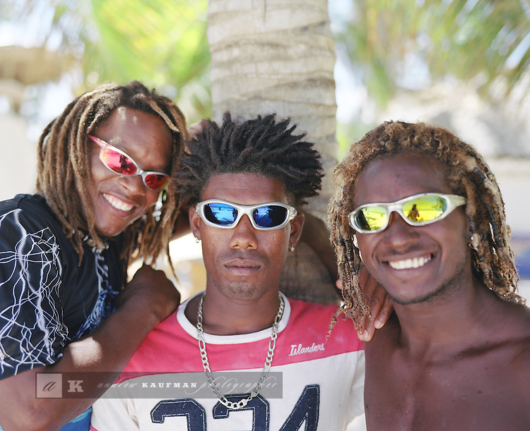 Locals hang out on the beach in Punta Cana, Dominican Republic.