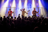 """Die schwedische Melodic Metal-Band """"Dead by April"""" spielte am Dienstag den 5. September 2017 im Berliner Club SO36.<br /> Im Bild vlnr.: Bassist Marcus Wesslen, Frontmann und Growl-Saenger  Jimmie Strimell, Gitarrist und Saenger  Pontus Hjelm.<br /> 5.9.2017, Berlin<br /> Copyright: Christian-Ditsch.de<br /> [Inhaltsveraendernde Manipulation des Fotos nur nach ausdruecklicher Genehmigung des Fotografen. Vereinbarungen ueber Abtretung von Persoenlichkeitsrechten/Model Release der abgebildeten Person/Personen liegen nicht vor. NO MODEL RELEASE! Nur fuer Redaktionelle Zwecke. Don't publish without copyright Christian-Ditsch.de, Veroeffentlichung nur mit Fotografennennung, sowie gegen Honorar, MwSt. und Beleg. Konto: I N G - D i B a, IBAN DE58500105175400192269, BIC INGDDEFFXXX, Kontakt: post@christian-ditsch.de<br /> Bei der Bearbeitung der Dateiinformationen darf die Urheberkennzeichnung in den EXIF- und  IPTC-Daten nicht entfernt werden, diese sind in digitalen Medien nach §95c UrhG rechtlich geschuetzt. Der Urhebervermerk wird gemaess §13 UrhG verlangt.]"""