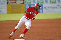 June 19, 2009:  Outfielder D'Marcus Ingram of the Batavia Muckdogs rounds third base during a game at Dwyer Stadium in Batavia, NY.  The Muckdogs are the NY-Penn League Short-Season Class-A affiliate of the St. Louis Cardinals.  Photo by:  Mike Janes/Four Seam Images