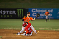 AZL Giants shortstop Nico Giarratano (9) collects a force out at second base ahead of AZL Angels second baseman Gleyvin Pineda (72) during a game against the AZL Angels on July 9, 2017 at Diablo Stadium in Tempe, Arizona. AZL Giants defeated the AZL Angels 8-4. (Zachary Lucy/Four Seam Images)