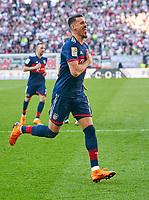 Sandro WAGNER, FCB 2  celebration 1-4<br />FC AUGSBURG -  FC BAYERN MUENCHEN<br />Football 1. Bundesliga , Augsburg,07.04.2018, 29. match day,  2017/2018, 1.Liga, 1.Bundesliga, <br /> *** Local Caption *** © pixathlon<br /> Contact: +49-40-22 63 02 60 , info@pixathlon.de