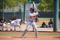 AZL Indians Red Joe Naranjo (24) at bat during an Arizona League game against the AZL Indians Blue on July 7, 2019 at the Cleveland Indians Spring Training Complex in Goodyear, Arizona. The AZL Indians Blue defeated the AZL Indians Red 5-4. (Zachary Lucy/Four Seam Images)