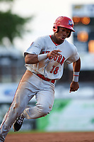 Auburn Doubledays third baseman Omar Meregildo (18) rounds third base during a game against the Batavia Muckdogs on June 19, 2017 at Dwyer Stadium in Batavia, New York.  Batavia defeated Auburn 8-2 in both teams opening game of the season.  (Mike Janes/Four Seam Images)