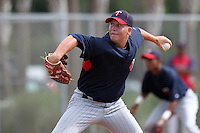 Minnesota Twins pitcher Corey Williams #87 during an Instructional League game against the Boston Red Sox at Red Sox Minor League Training Complex in Fort Myers, Florida;  October 3, 2011.  (Mike Janes/Four Seam Images)