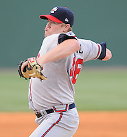 May 15, 2009: RHP David Francis (46) of the Rome Braves, Class A affiliate of the Atlanta Braves, in a game against the Greenville Drive at Fluor Field at the West End in Greenville, S.C. Photo by: Tom Priddy/Four Seam Images