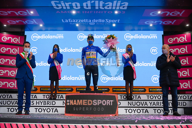 Ruben Guerreiro (POR) EF Pro Cycling retains the mountains Maglia Azzurra at the end of Stage 12 of the 103rd edition of the Giro d'Italia 2020 running 204km from Cesenatico to Cesenatico, Italy. 15th October 2020.  <br /> Picture: LaPresse/Marco Alpozzi   Cyclefile<br /> <br /> All photos usage must carry mandatory copyright credit (© Cyclefile   LaPresse/Marco Alpozzi)