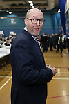 © Joel Goodman - 07973 332324 . 23/02/2017 . Stoke-on-Trent , UK . PAUL NUTTALL arrives at the count in the by-election for the constituency of Stoke-on-Trent Central , at Fenton Manor Sports Complex . Photo credit : Joel Goodman