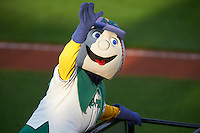 Cedar Rapids Kernels mascot Mr. Shucks during a game against the Kane County Cougars on August 18, 2015 at Perfect Game Field in Cedar Rapids, Iowa.  Kane County defeated Cedar Rapids 1-0.  (Mike Janes/Four Seam Images)