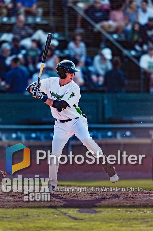24 August 2019: Vermont Lake Monsters infielder Logan Davidson leads off the bottom of the first against the Lowell Spinners at Centennial Field in Burlington, Vermont. The Lake Monsters fell to the Spinners 3-2 in NY Penn League action. Mandatory Credit: Ed Wolfstein Photo *** RAW (NEF) Image File Available ***