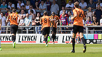 John Akinde of Barnet (2nd right) celebrates scoring his team's first goal to make it 1-0  during the Friendly match between Barnet and Crystal Palace at The Hive, London, England on 11 July 2015. Photo by David Horn.
