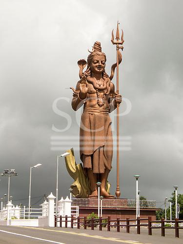 Mauritius. Big image of Mangal Mahadev - Shiva Statue at Ganga Talao by pilgrims way. The statue is 33 metres tall.