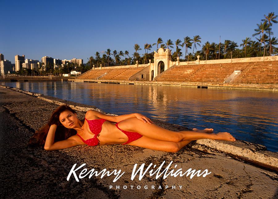 Beautiful Bikini Swimsuit Girl, Waikiki Natatorium, Honolulu, Oahu, Hawaii, USA.