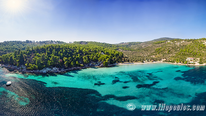 The beach Tzortzi Gialos of Alonissos island from drone view, Greece