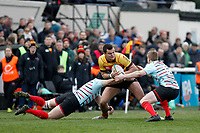 Toby Eaton of Richmond Rugby is tackled during the English National League match between Richmond and Blackheath  at Richmond Athletic Ground, Richmond, United Kingdom on 4 January 2020. Photo by Carlton Myrie.
