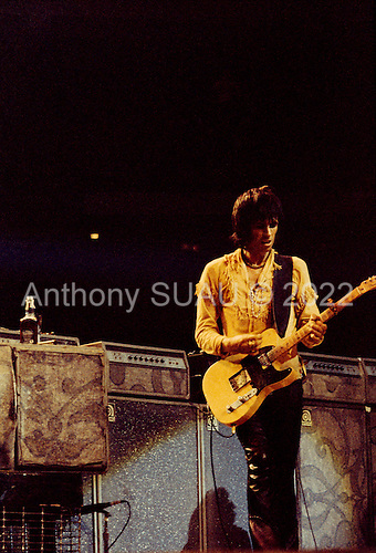 """Chicago, Illinois<br /> July 23, 1975<br /> USA<br /> <br /> Guitarist Keith Richards of the Rolling Stones performs live at Chicago Stadium during the band's """"Rolling Stones Tour of the Americas '75"""".<br /> <br /> This was the Stones first tour with new guitarist Ronnie Wood, after Mick Taylor left the band. The Stones, with their usual act freshly aided by theatrical stage props  including a giant inflatable phallus (nicknamed 'Tired Grandfather' by the band, since it sometimes malfunctioned) and, at the Chicago shows, an unfolding lotus flower-shaped stage that Charlie Watts had conceived.<br /> <br /> The band was composed of  Mick Jagger - vocals, guitar, harmonica, Keith Richards - guitar, vocals, Bill Wyman - bass guitar, and Charlie Watts - drums, percussion. <br /> <br /> Additional musicians included: Ronnie Wood - guitar, backing vocals, Ian Stewart - piano, Billy Preston - keyboards, vocals and Ollie Brown - percussion."""