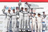 #77 Mazda Team Joest Mazda DPi, DPi: Oliver Jarvis, Tristan Nunez, #55 Mazda Team Joest Mazda DPi, DPi: Jonathan Bomarito, Harry Tincknell, #6 Acura Team Penske Acura DPi, DPi: Juan Pablo Montoya, Dane Cameron, podium