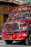 Antigua, Guatemala.  Decorated Bus.