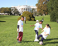 """Kids in front of the White House during a  D.C United clinic in support of first lady Michelle Obama's """"Let's Move"""" initiative on the White House lawn, in Washington D.C. on October 7 2010."""