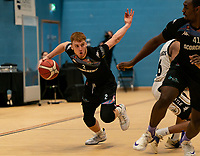 Cameron Hildreth of Surrey Scorchers driving forward during the BBL Championship match between Surrey Scorchers and Newcastle Eagles at Surrey Sports Park, Guildford, England on 20 March 2021. Photo by Liam McAvoy.