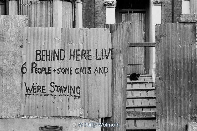 Squatted houses in Villa Road, Brixton, London.