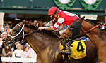 October 23, 2021: He'smyhoneybadger #4 ridden by jockey Florent Geroux holds off a late closing Ram #3 ridden by jockey Rafael Bejarano  to win the Perrville Stakes at Keeneland Racecourse in Lexington, K.Y. on October 23rd, 2021. Candice Chavez/Eclipse Sportswire/CSM
