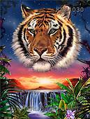 Interlitho, Lorenzo, FANTASY, paintings, tiger portrait, falls, KL, KL4030,#fantasy# illustrations, pinturas