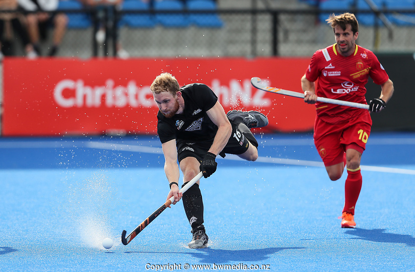 Brad Read during the Pro League Hockey match between the Blacksticks men and the Spain, Nga Punawai, Christchurch, New Zealand, Sunday 16 February 2020. Photo: Simon Watts/www.bwmedia.co.nz