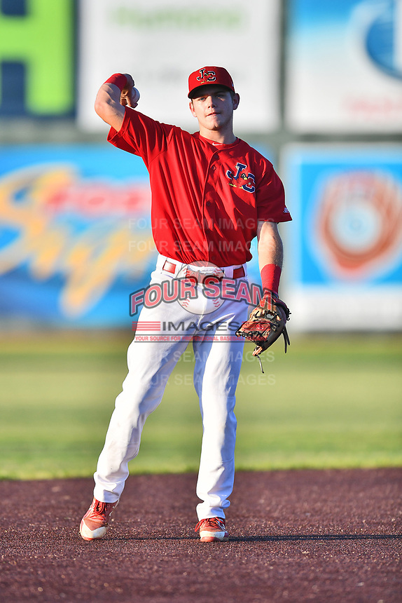 Johnson City Cardinals shortstop Mateo Gil (23) warms up between innings during game two of the Appalachian League, West Division Playoffs against the Bristol Pirates at TVA Credit Union Ballpark on August 31, 2019 in Johnson City, Tennessee. The Cardinals defeated the Pirates 7-4 to even the series at 1-1. (Tony Farlow/Four Seam Images)