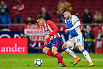Angel Correa (L) of Atletico de Madrid competes for the ball with Diego Rico Salguero of CD Leganes during the La Liga 2017-18 match between Atletico de Madrid and CD Leganes at Wanda Metropolitano on February 28 2018 in Madrid, Spain. Photo by Diego Souto / Power Sport Images
