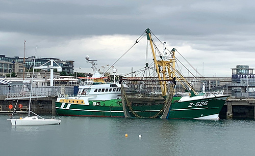 (Abov and below) A Belgium beam trawler at Dun Laoghaire Harbour
