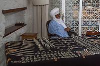 Nigerien Tuareg Silversmith Adam Zidia and his Silver Jewelry on Display, Goree Island, Senegal.