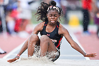 Paetyn Revell of Texas Tech competes in first round of long jump during West Preliminary Track & Field Championships at John McDonnell Field, Thursday, May 29, 2014 in Fayetteville, Ark. (Mo Khursheed/TFV Media via AP Images)