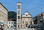 ".Hvar Island. Hvar harbour. ""Pjaca"" et cathedral Stjepan. Built in the XVI  century.Cruise in Croatia. Island of Dalmatia"
