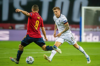 17th November 2020;  Estadio La Cartuja de Sevilla, Seville, Spain; UEFA Nations League Football, Spain versus Germany;  Koke (esp) shoots past Toni Kroos (ger)