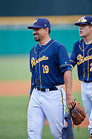 Montgomery Biscuits pitcher Roel Ramirez (19) and pitcher Dalton Moats (29) after a game against the Biloxi Shuckers on May 8, 2018 at Montgomery Riverwalk Stadium in Montgomery, Alabama.  Montgomery defeated Biloxi 10-5.  (Mike Janes/Four Seam Images)