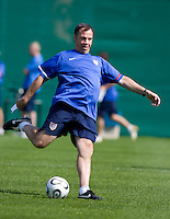 USA's head coach Bruce Arena kicks the gall during practice in Hamburg, Germany, for the 2006 World Cup, June, 9, 2006.