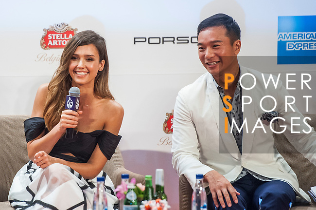 Mission Hills Group Chairman Dr Ken Chu, Vice Chairman Tenniel Chu, Morgan Freeman, Jessica Alba, Paul McGinley and Gary Player attend a press conference during the Mission Hills Celebrity Pro-Am on 25 October 2014, in Haikou, China. Photo by Xaume Olleros / Power Sport Images