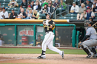 Daniel Robertson (5) of the Salt Lake Bees at bat against the Sacramento River Cats in Pacific Coast League action at Smith's Ballpark on April 20, 2015 in Salt Lake City, Utah.  (Stephen Smith/Four Seam Images)