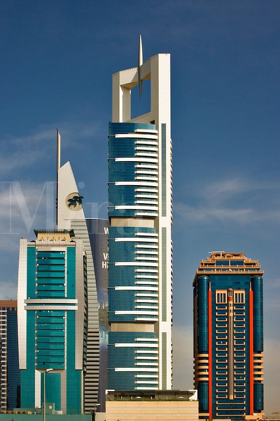 Contemporary high rise buildings on Sheikh Zayed Road. Dubai. United Arab Emirates.